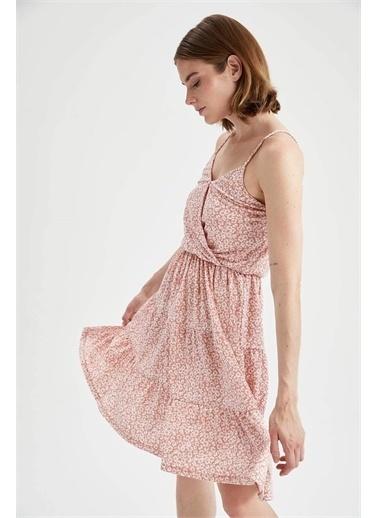 DeFacto Çiçekli Kruvaze Yaka İp Askılı Kat Kat Mini Yazlık Elbise Pembe